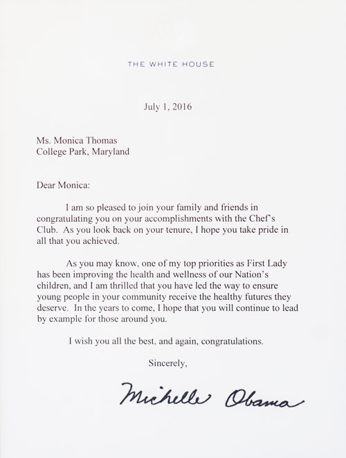 Chef Monica Letter from Michell Obama